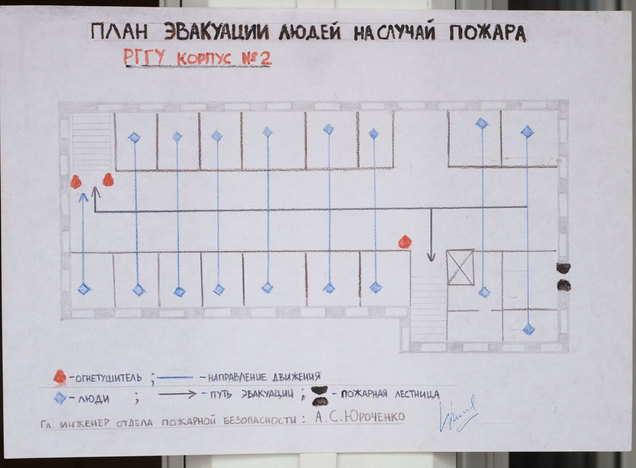 Plan of people evacuation in case of fire. RSUH building № 2